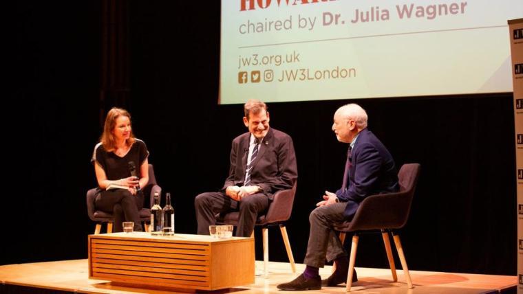 Howard-Rosenman-centre-and-Andre-Aciman-speak-at-JW3